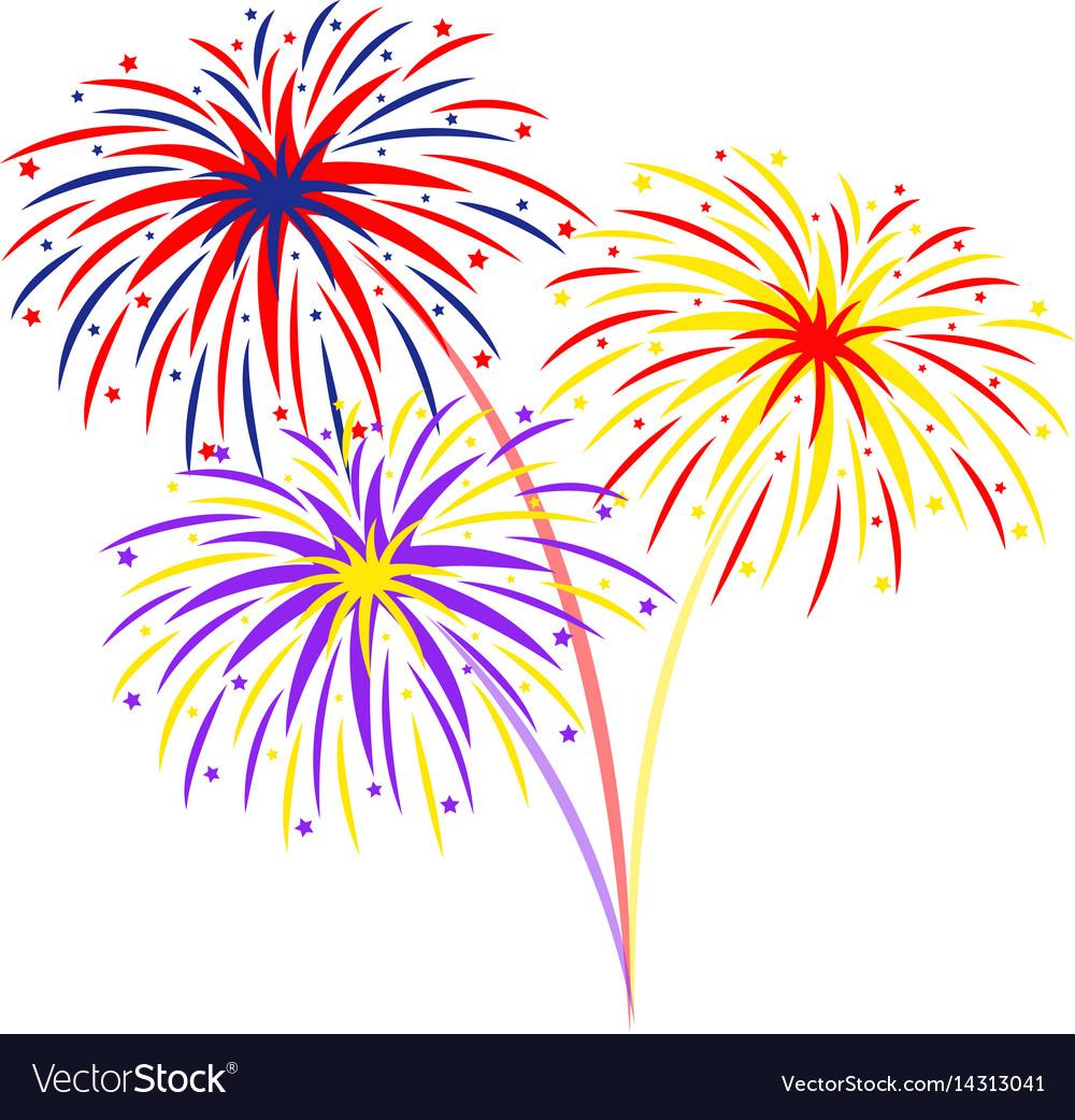 Fireworks on white background