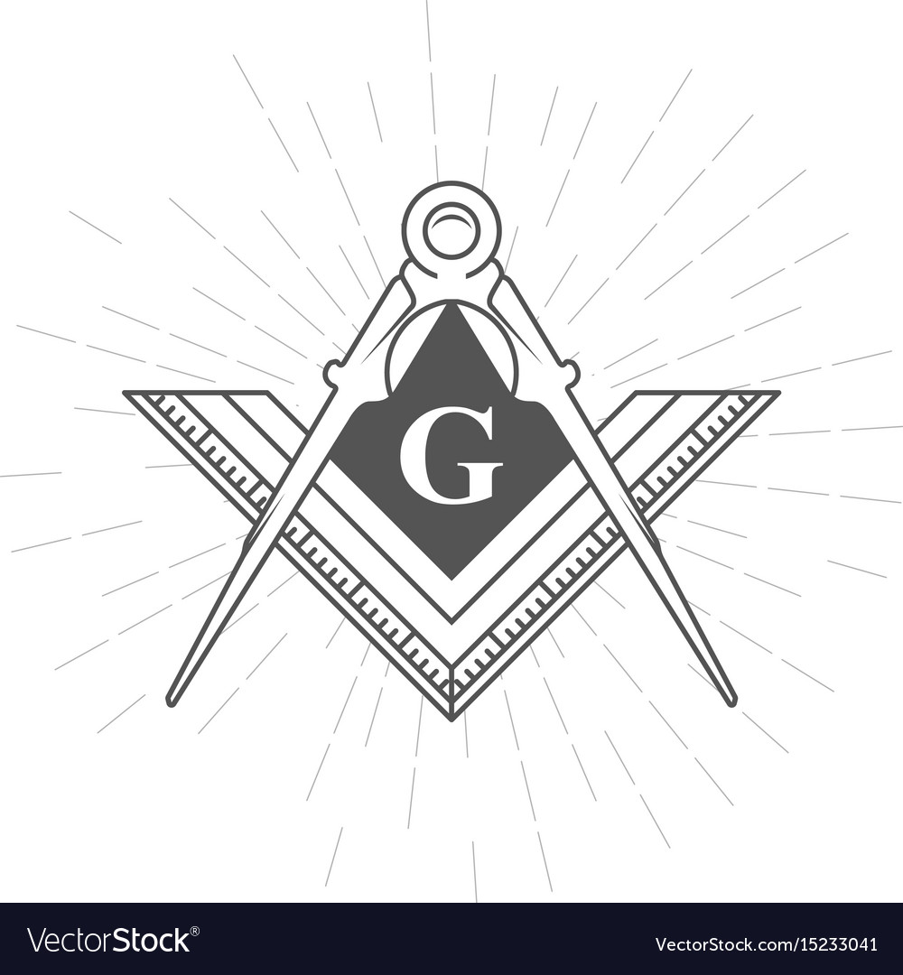 Freemason Symbol Illuminati Logo With Compasses Vector Image