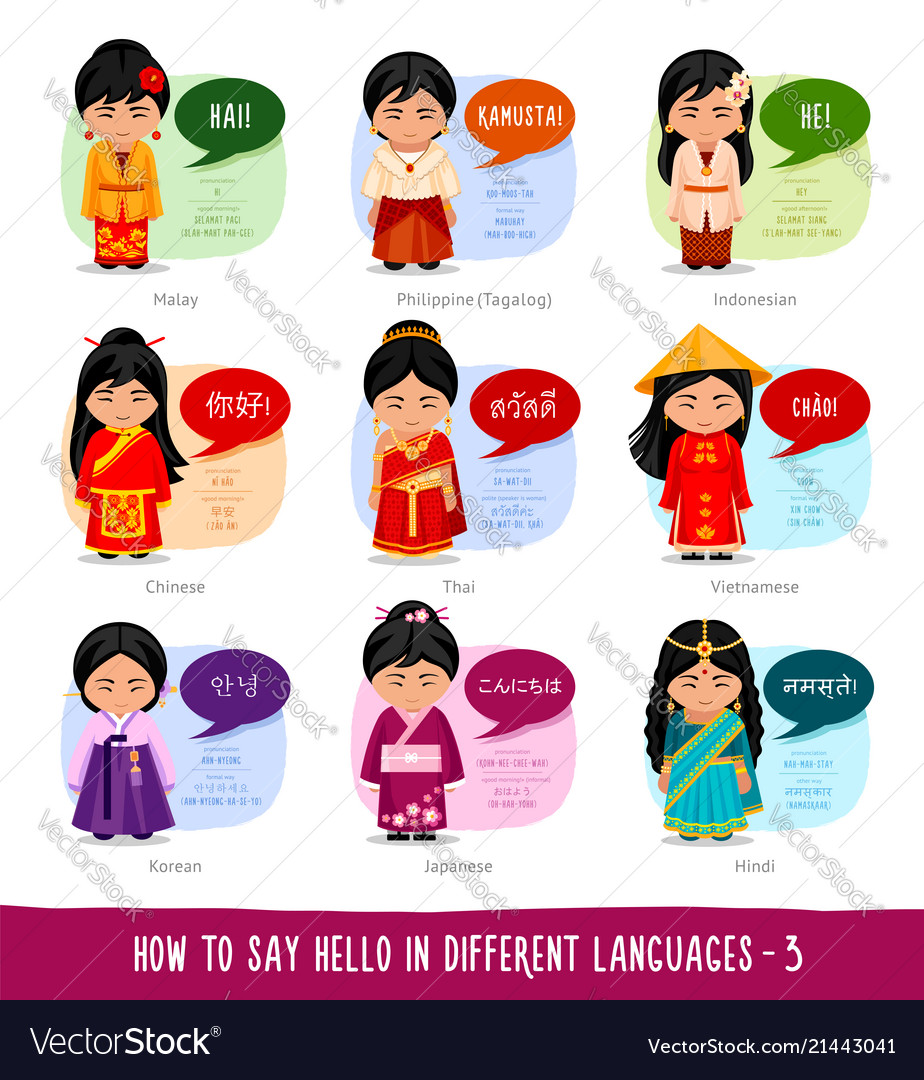 Girls saying hello in foreign languages