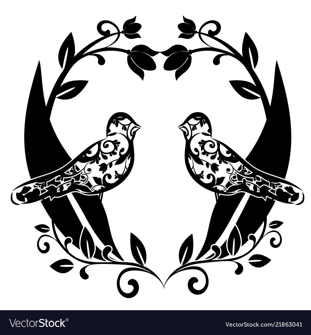 Graphic element flourishes with birds