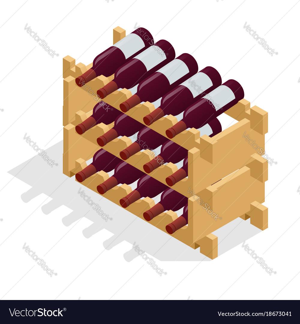 Isometric red wine bottles stacked on wooden racks