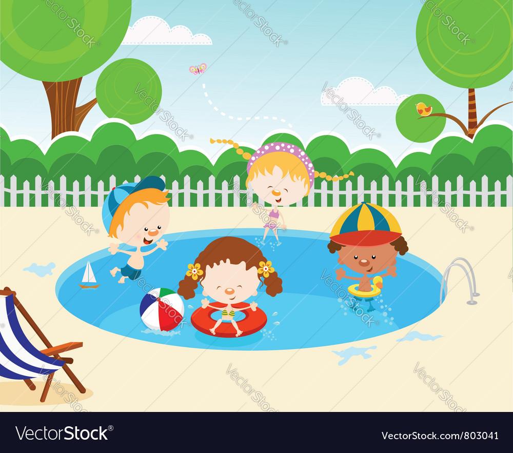 Kids In Swimming Pool vector image