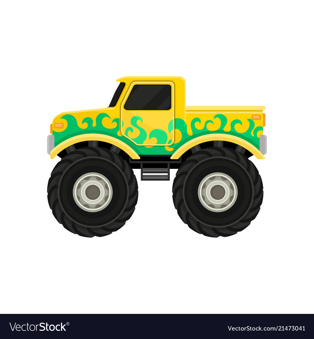 Large bright yellow pickup truck with green decal vector image