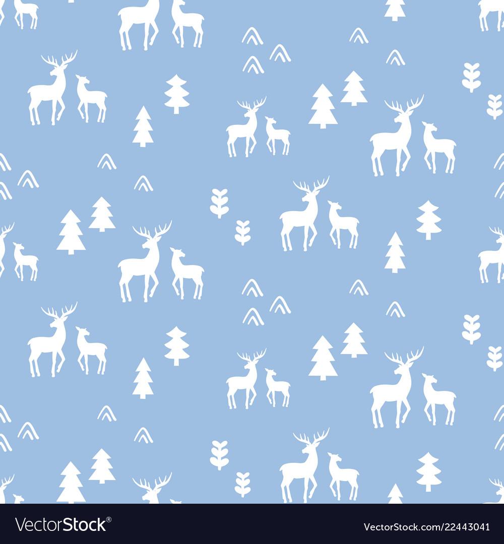 Scandinavian deers seamless pattern