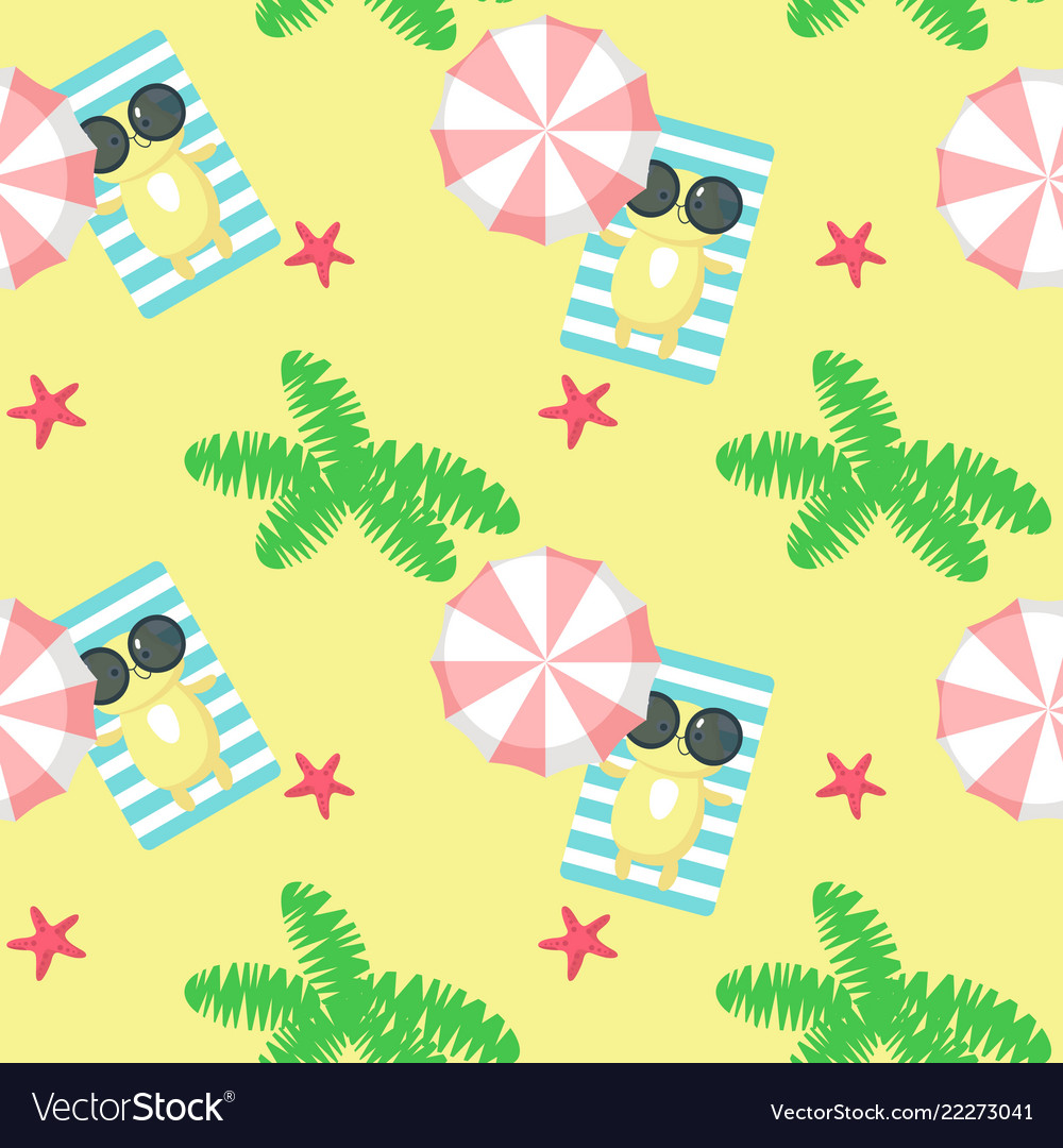 Seamless pattern with cute cat taking rest