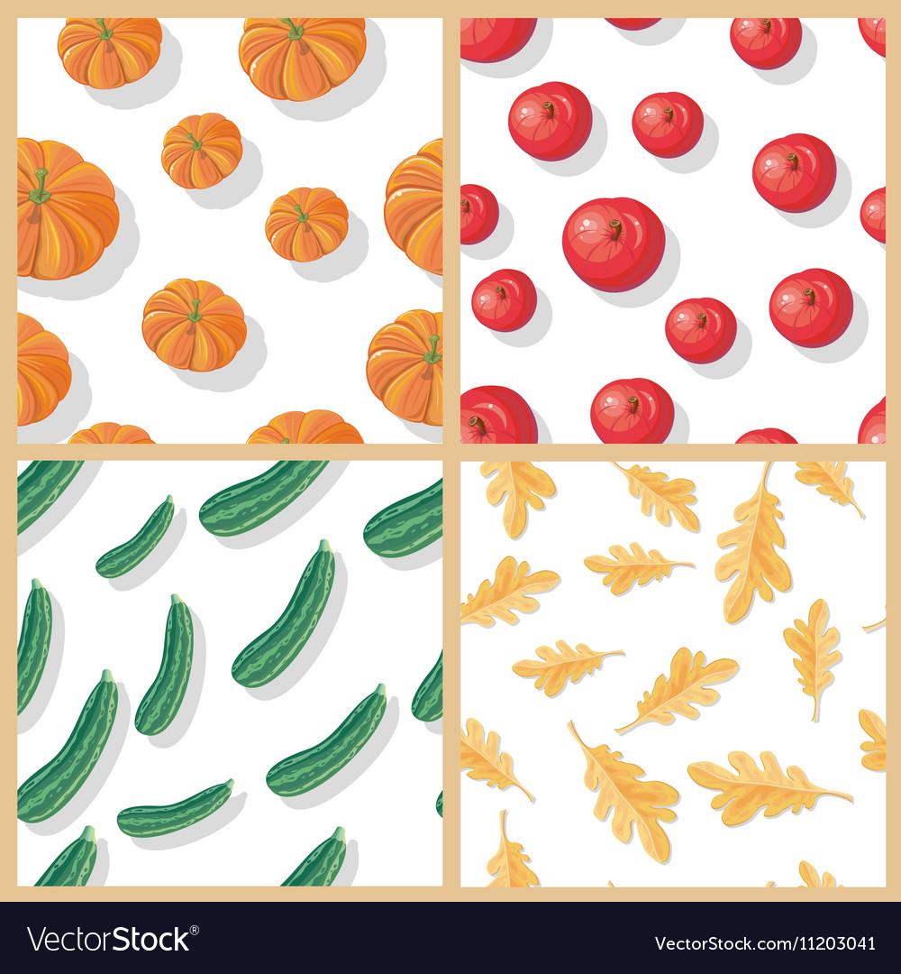 Set of Autumn Harvest Seamless Patterns