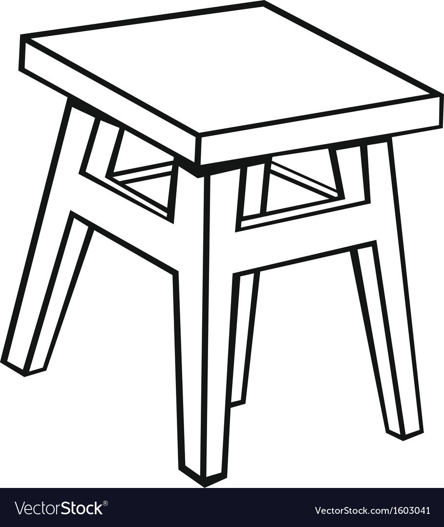 Silhouette old wooden stool