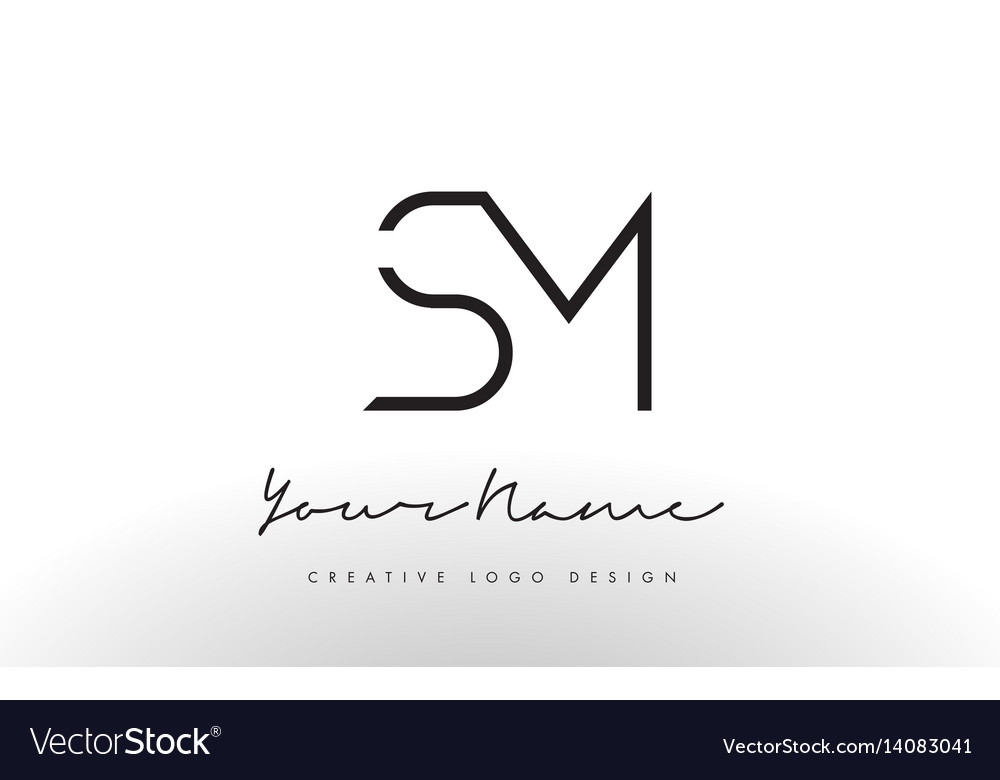 sm letters logo design slim creative simple black vector image