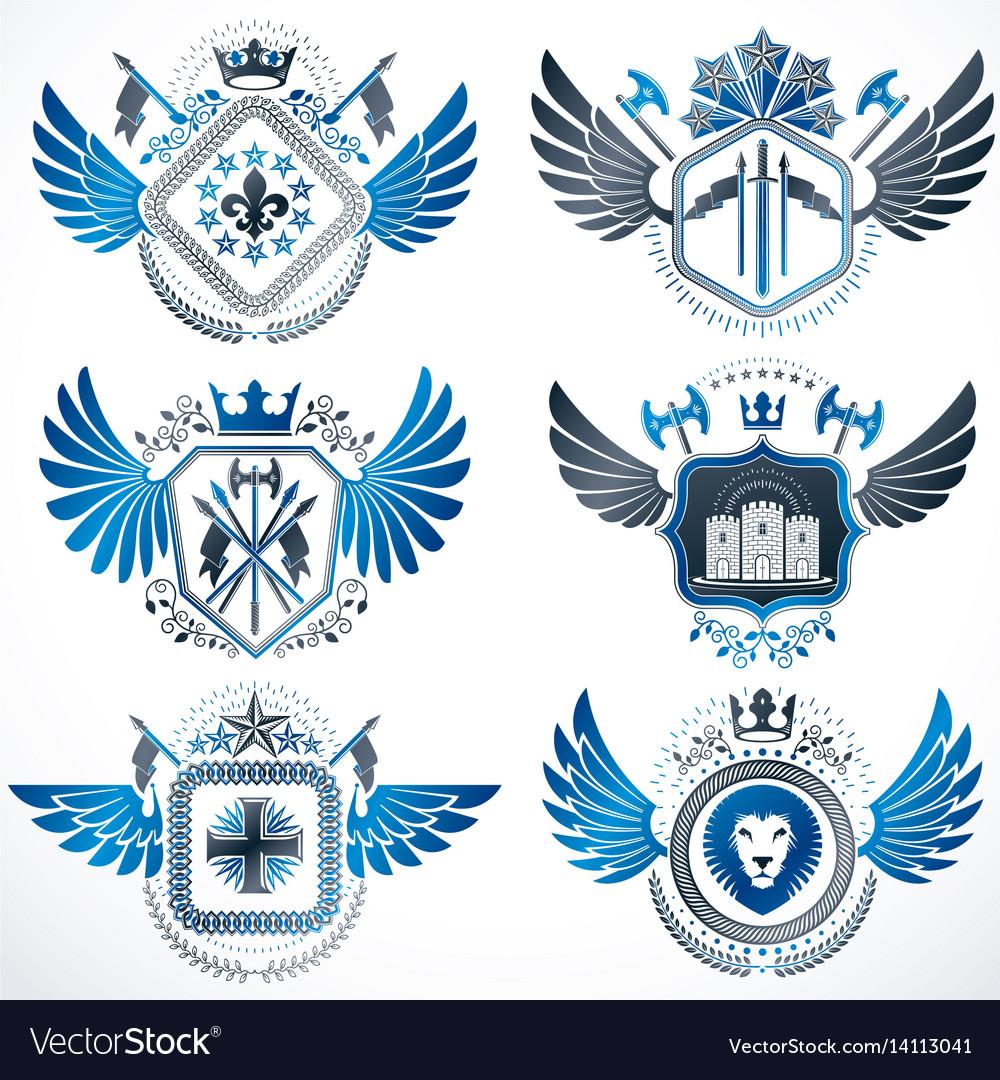 Vintage heraldry design templates emblems