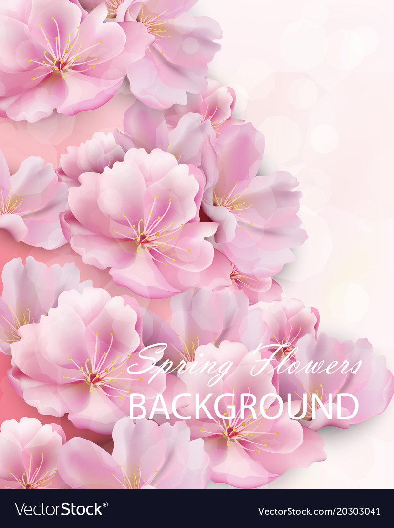 Watercolor spring flowers background