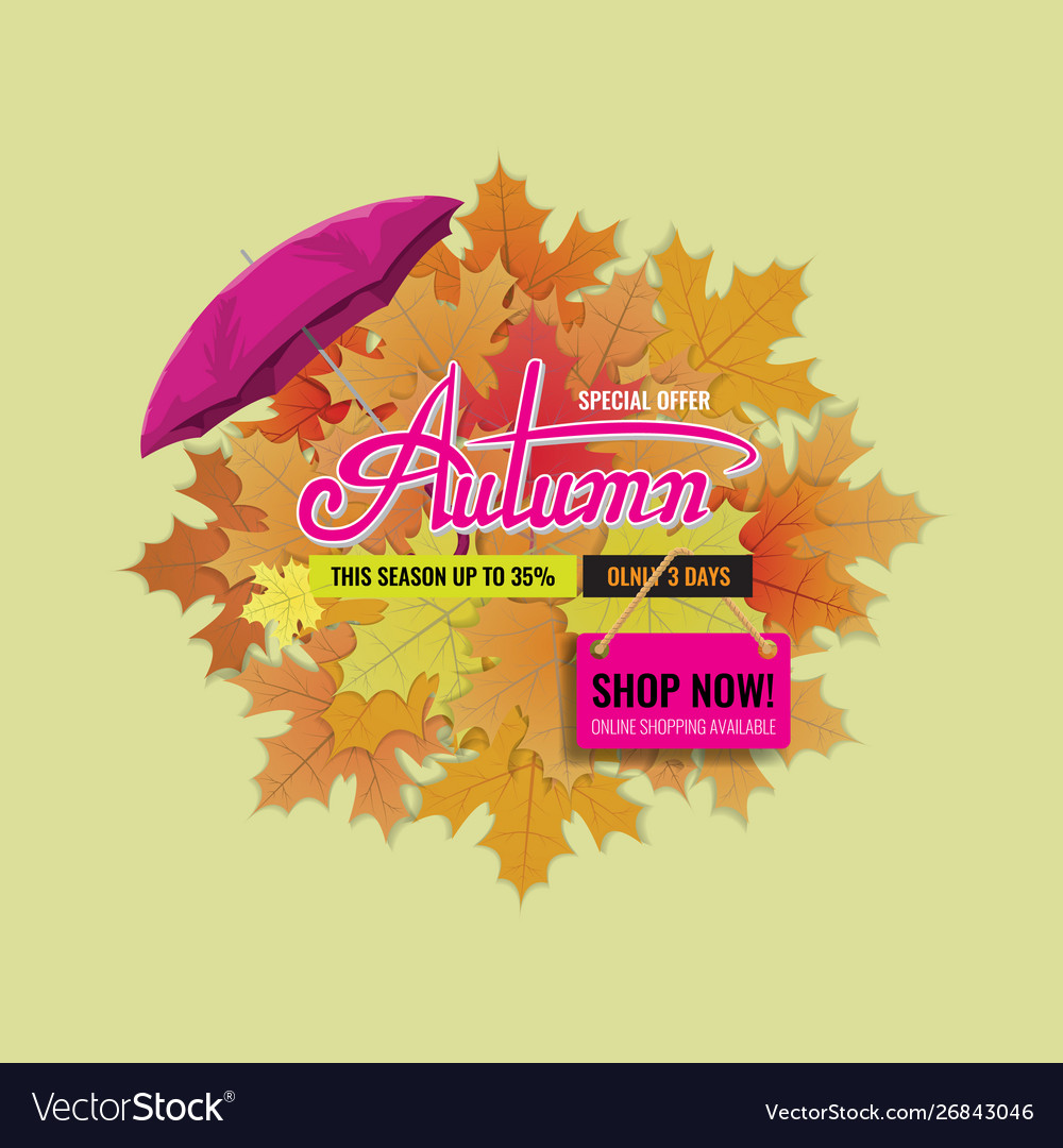 Autumn sale background layout with cute lettering