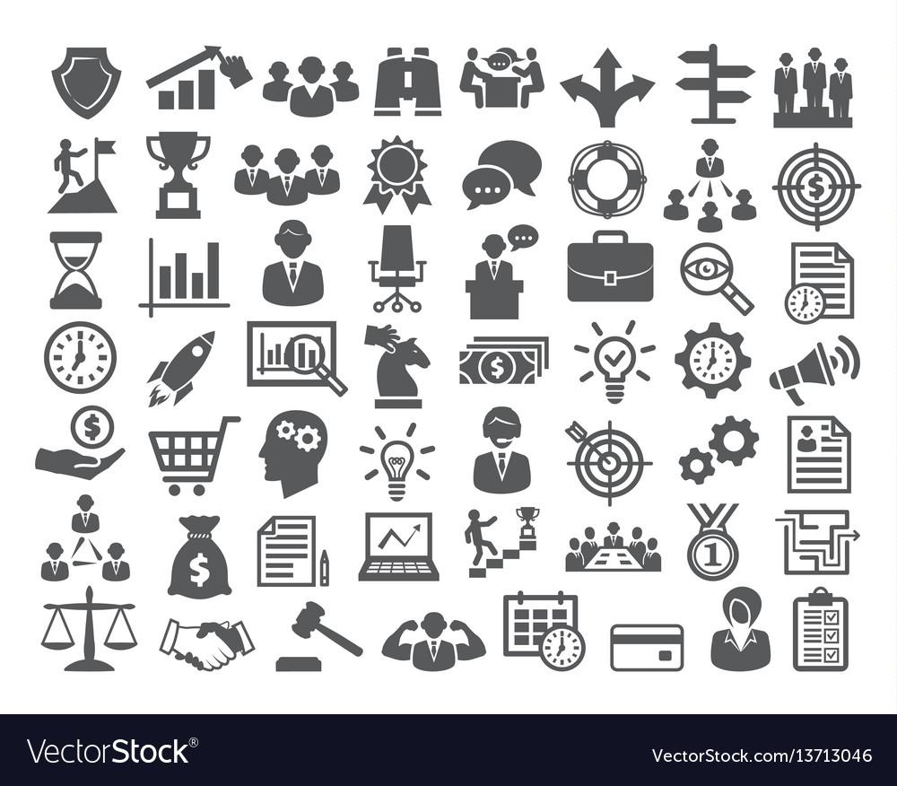 Business icons setmanagement finance marketing