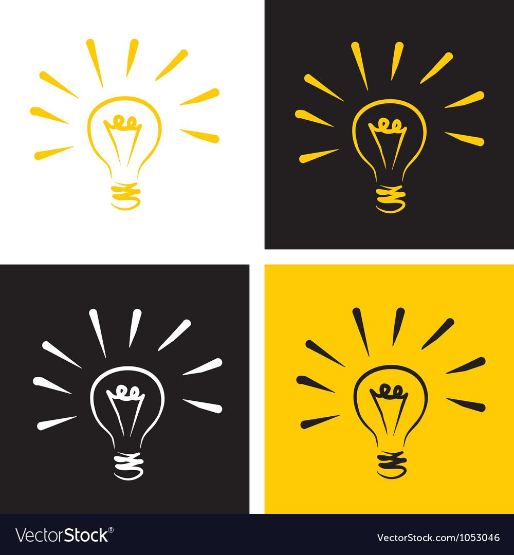Light bulb icon set vector image