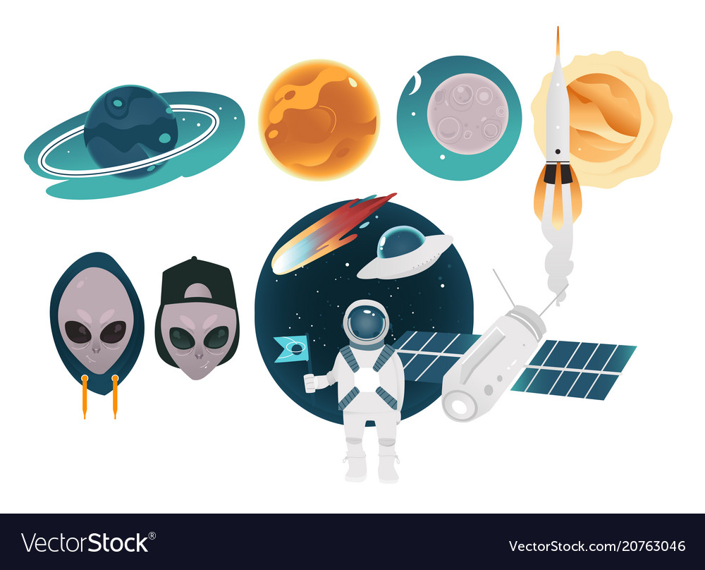 Outer space theme objects set with different