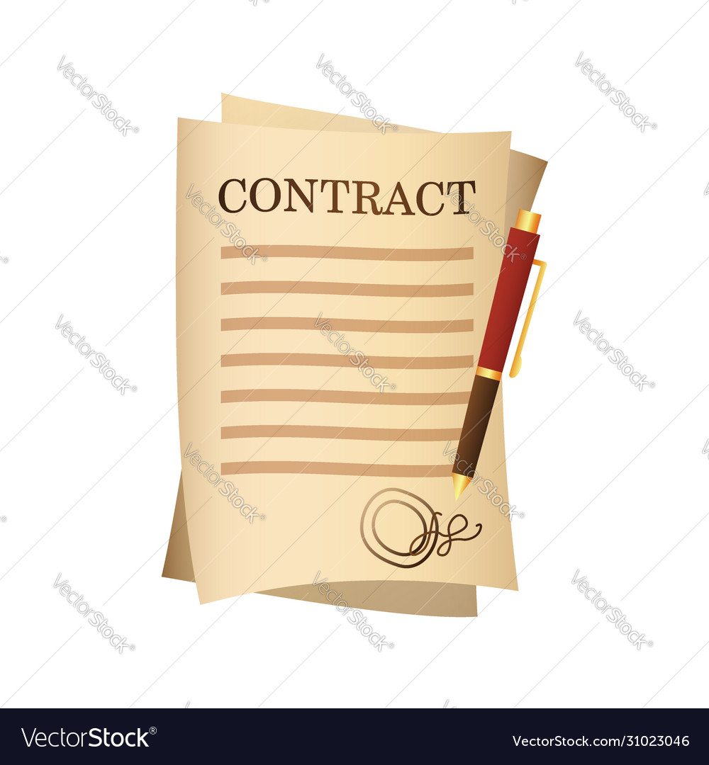 Paper contract agreement and pen isolated cartoon