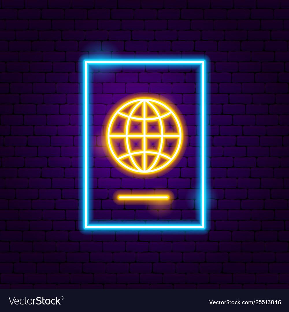 Passport neon label