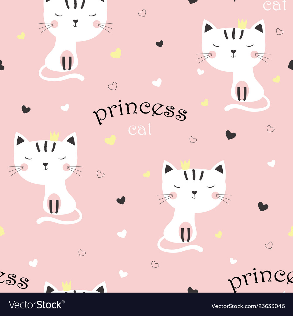 Pattern with cute princess cat