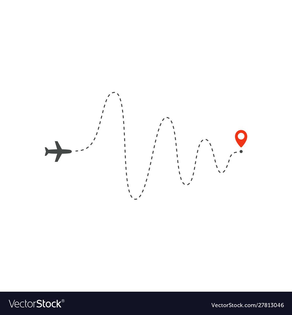 Plane way icon airplane big amplitude waves path