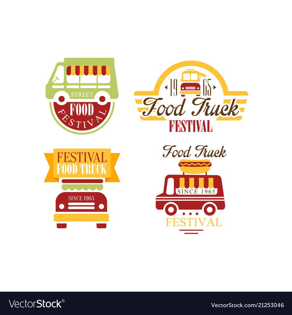 Set of colorful food truck emblems logos