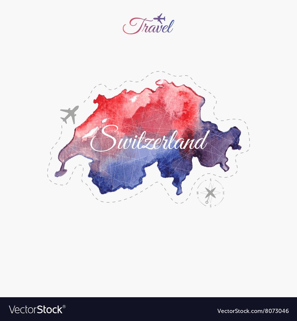 Travel around the world Switzerland Watercolor map