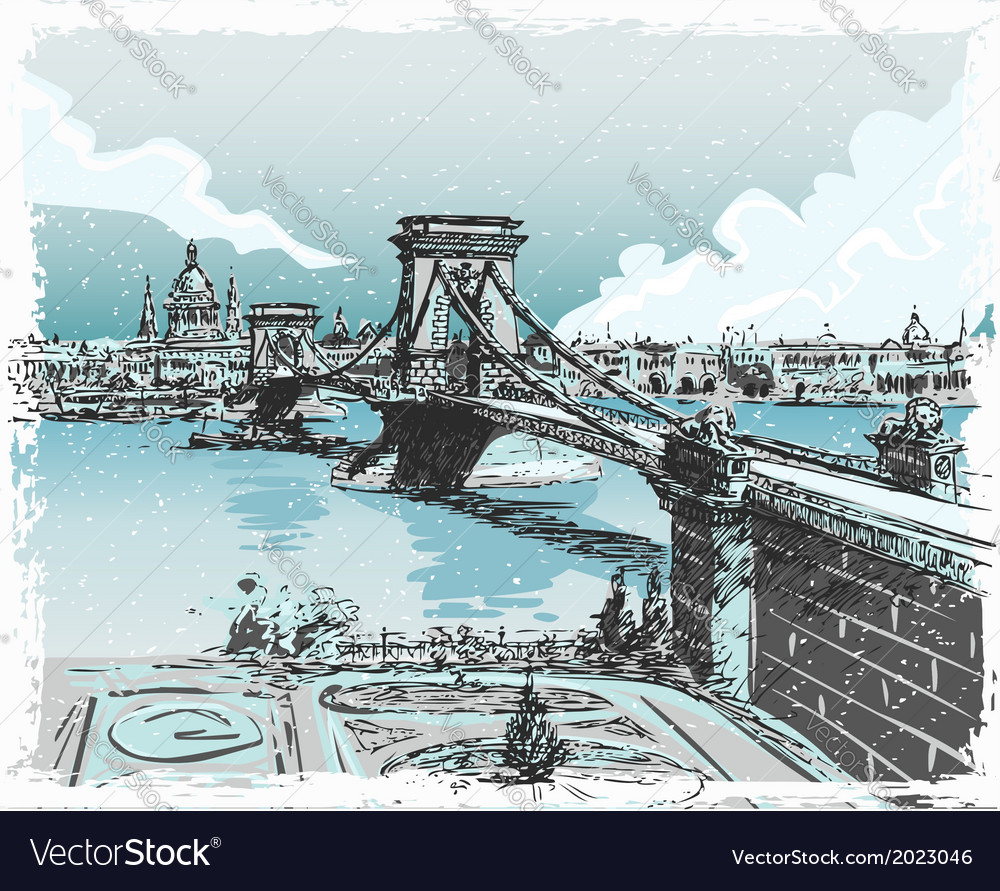 Vintage hand drawn view lions bridge in vector