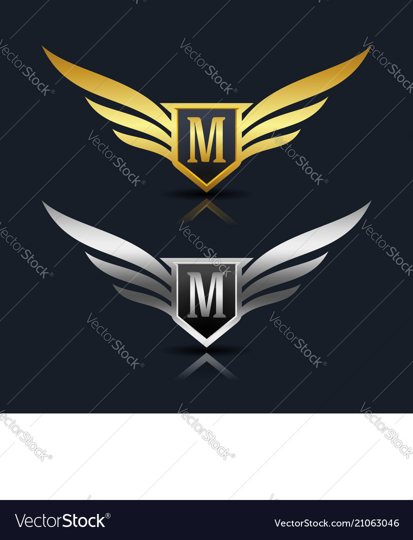 Wings shield letter m logo template vector image