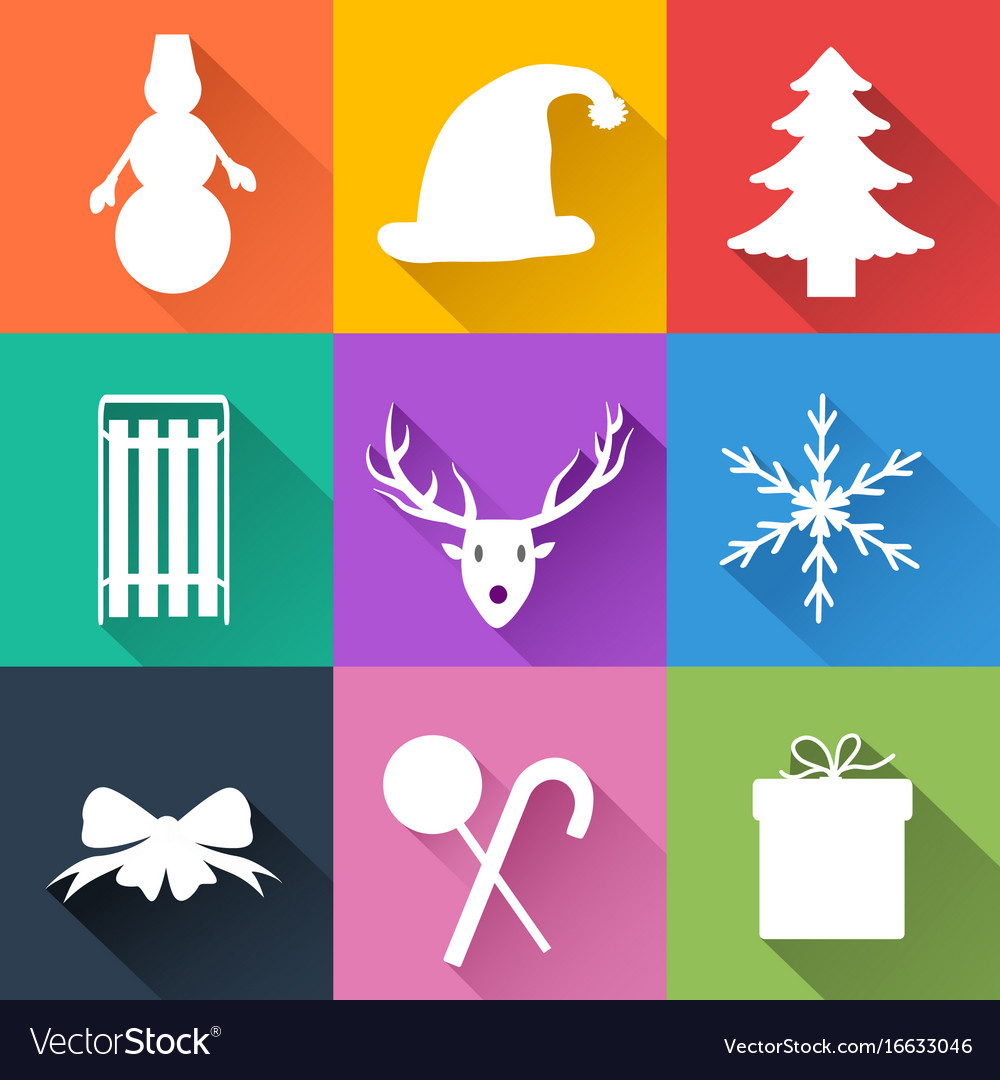 Winter holiday icons set vector image