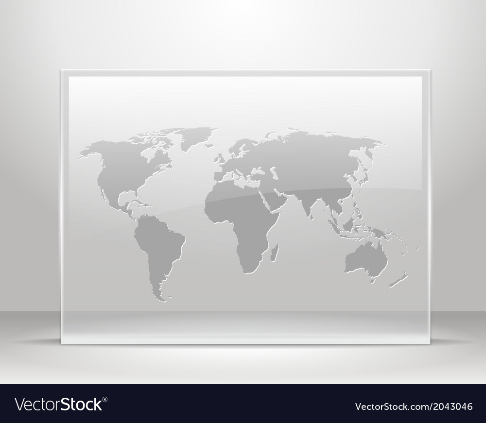 World map on glass frame Royalty Free Vector Image