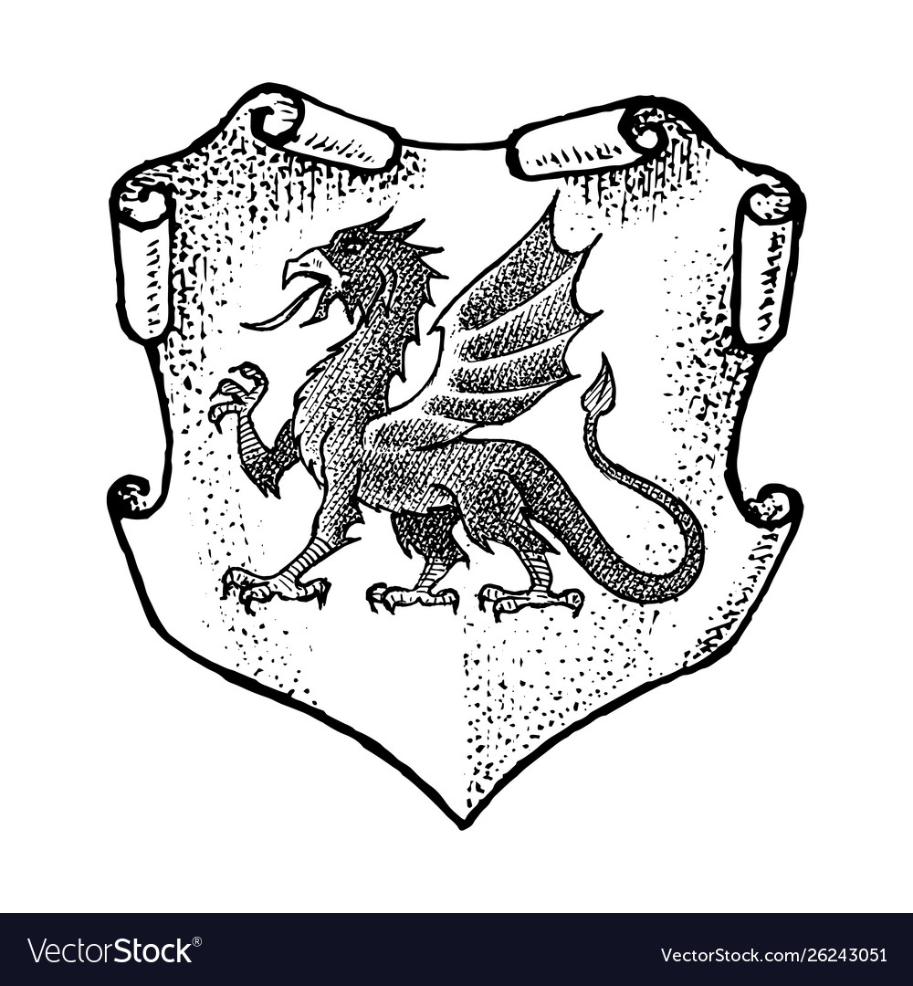 Animal for heraldry in vintage style engraved