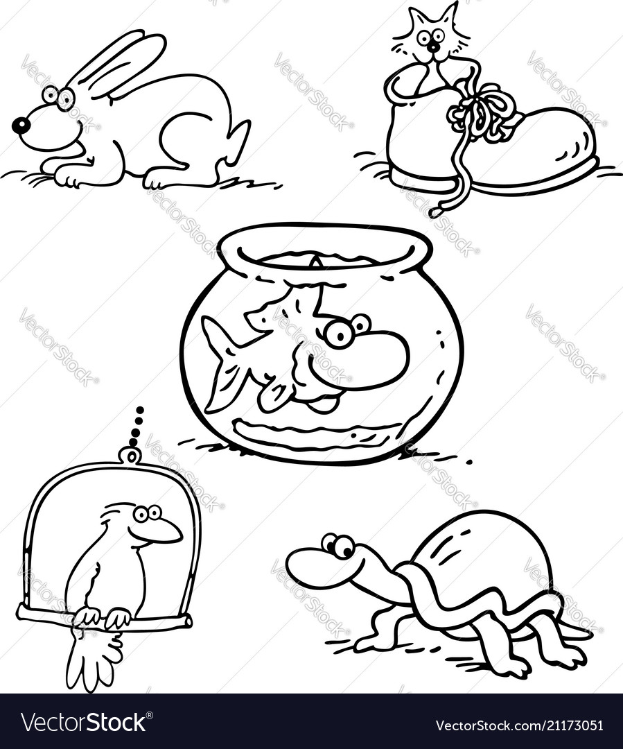Animal pet collection cartoon outlined cartoon