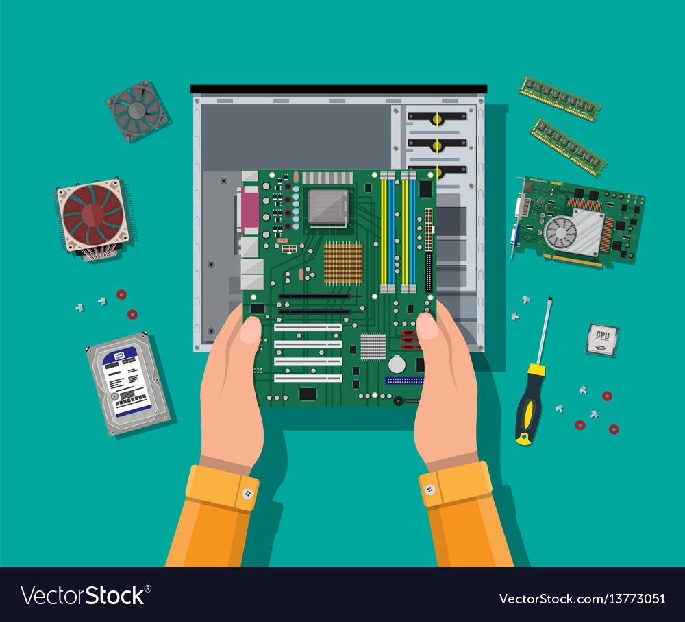 assembling pc personal computer hardware vector image vectorstock