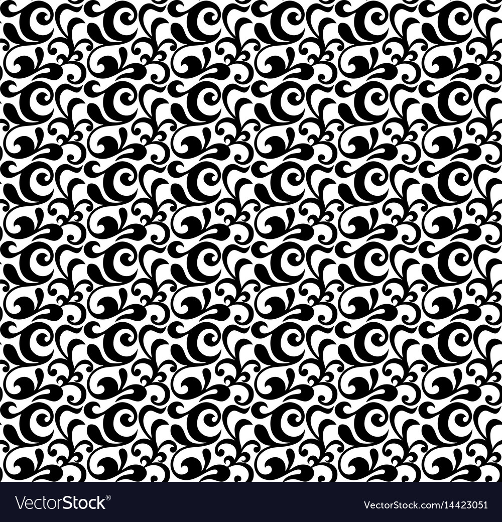 Background seamless with floral ornament of black