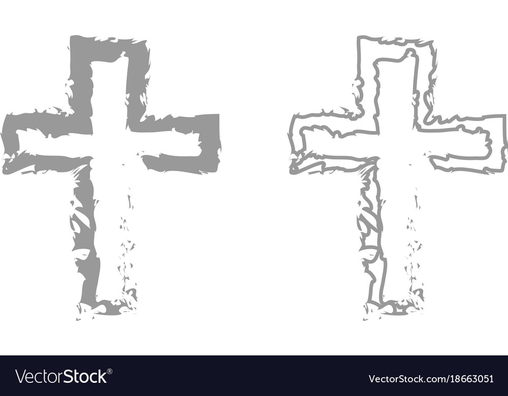 Cross icon grey set vector image