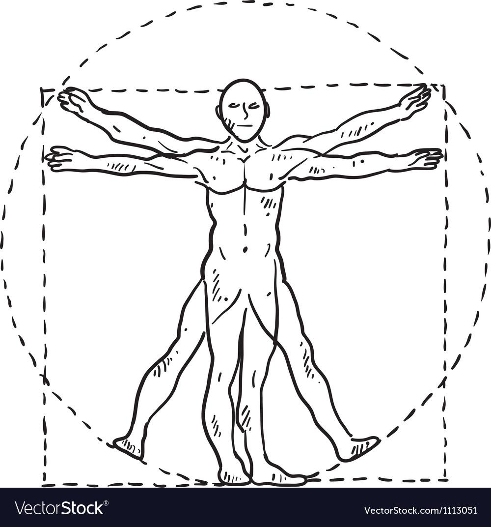 Doodle davinci man vector image