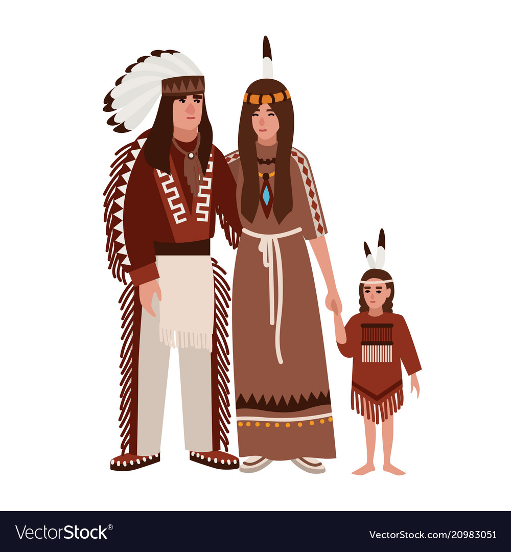 Family of american indians mother father and