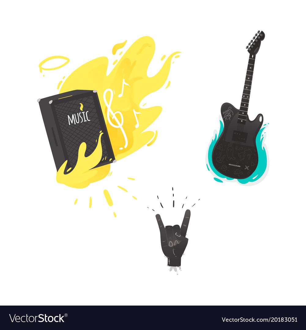 Flat Music Symbol Guitar Amplifier Rock Royalty Free Vector