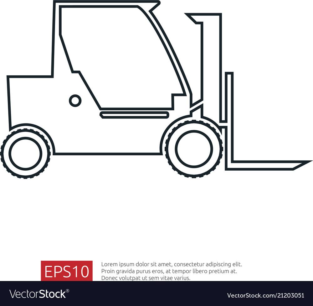 Forklift truck line icon warehouse fork loader