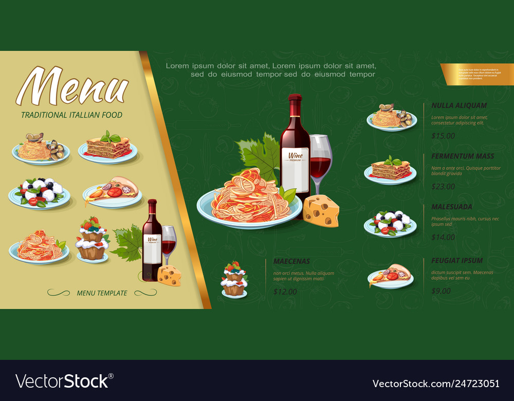 Hand drawn italian food menu concept