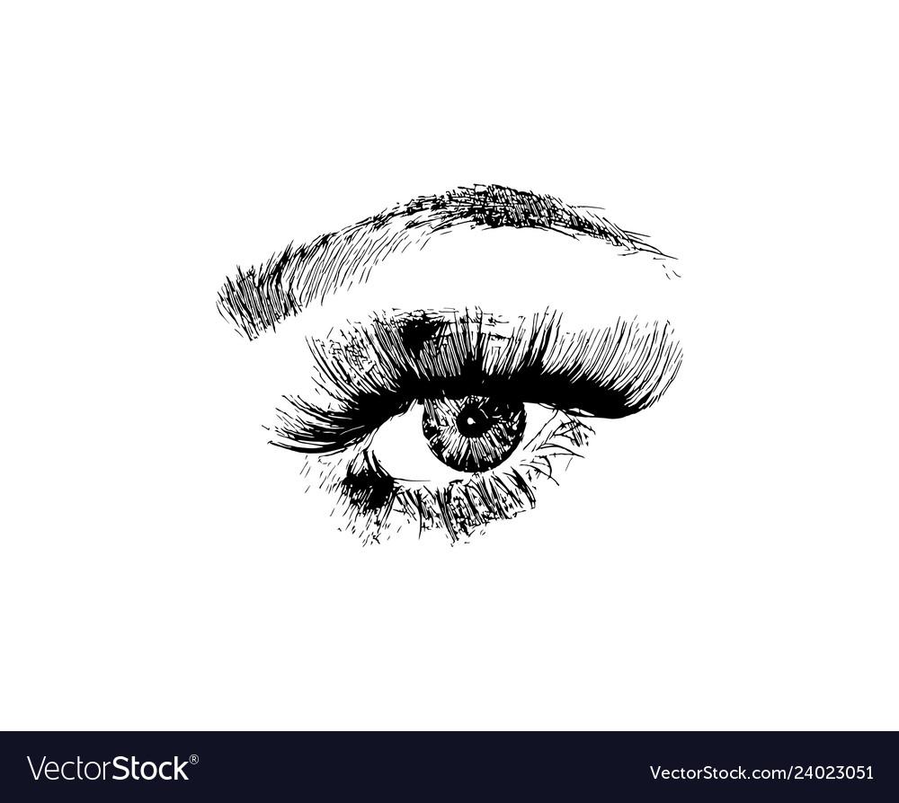 Hand drawn women fashion eye make up