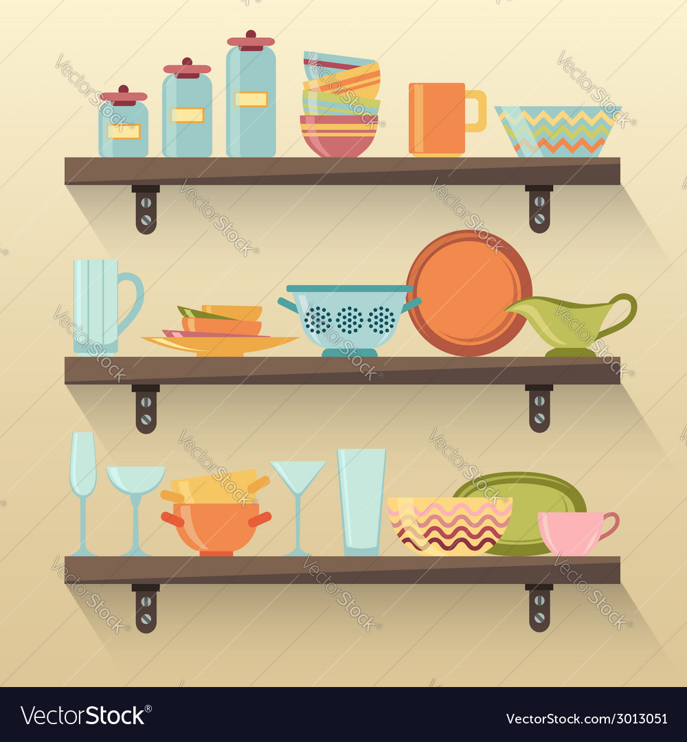 kitchen shelves with colorful tableware royalty free vector rh vectorstock com