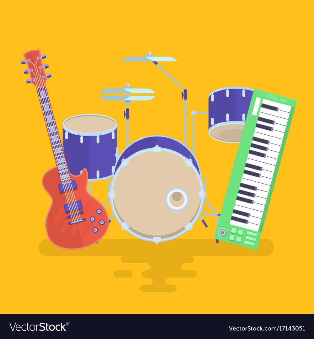 Musical instruments set guitar drums rock band