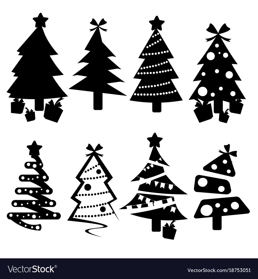 Set Of Black Christmas Trees Icons