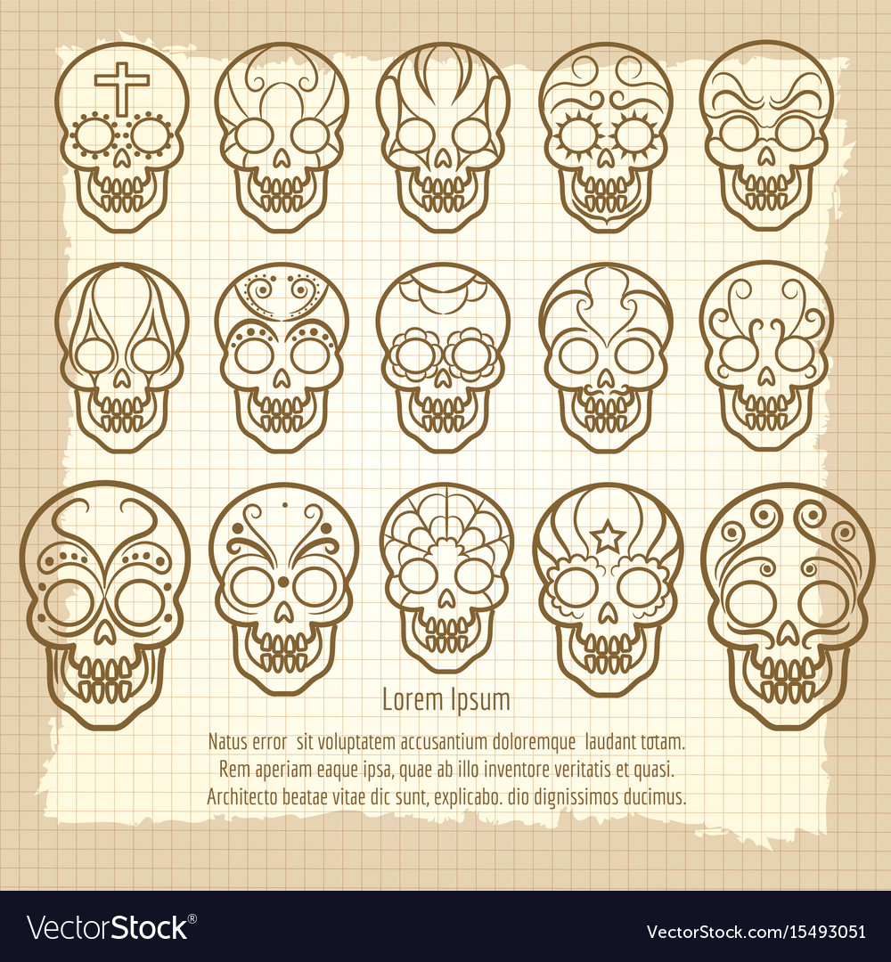 Vintage mexican skull set poster