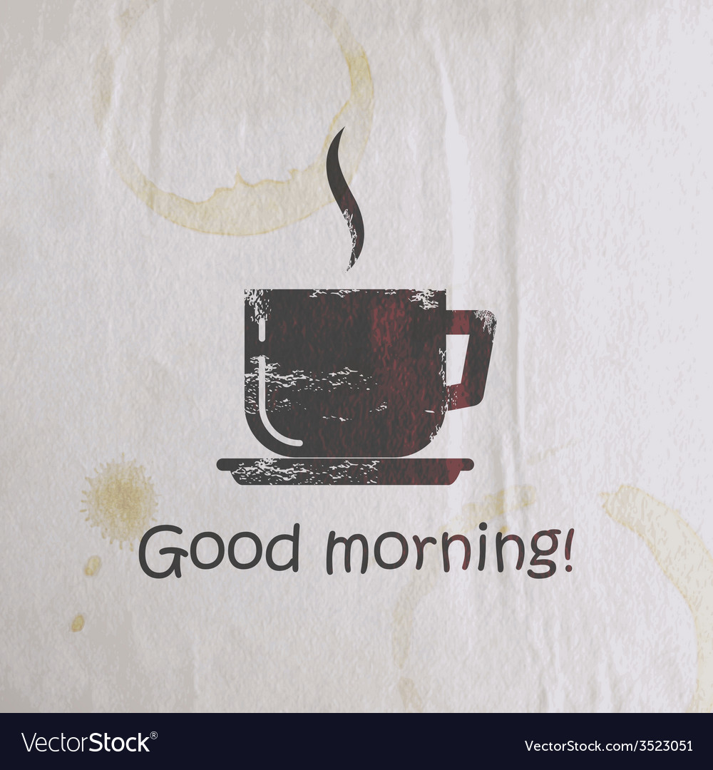 With scratched coffee cup on old wrinkled paper