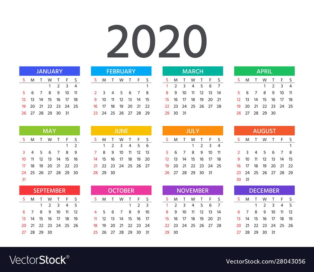 2020 Calendar Template Year Planner Royalty Free Vector