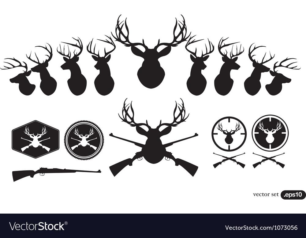 Deer Hunter Heads set vector image
