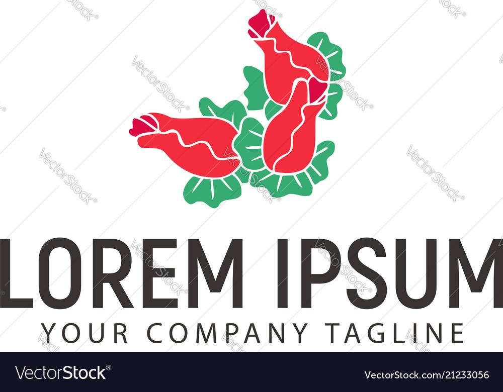 Flower hand drawn logo design concept template