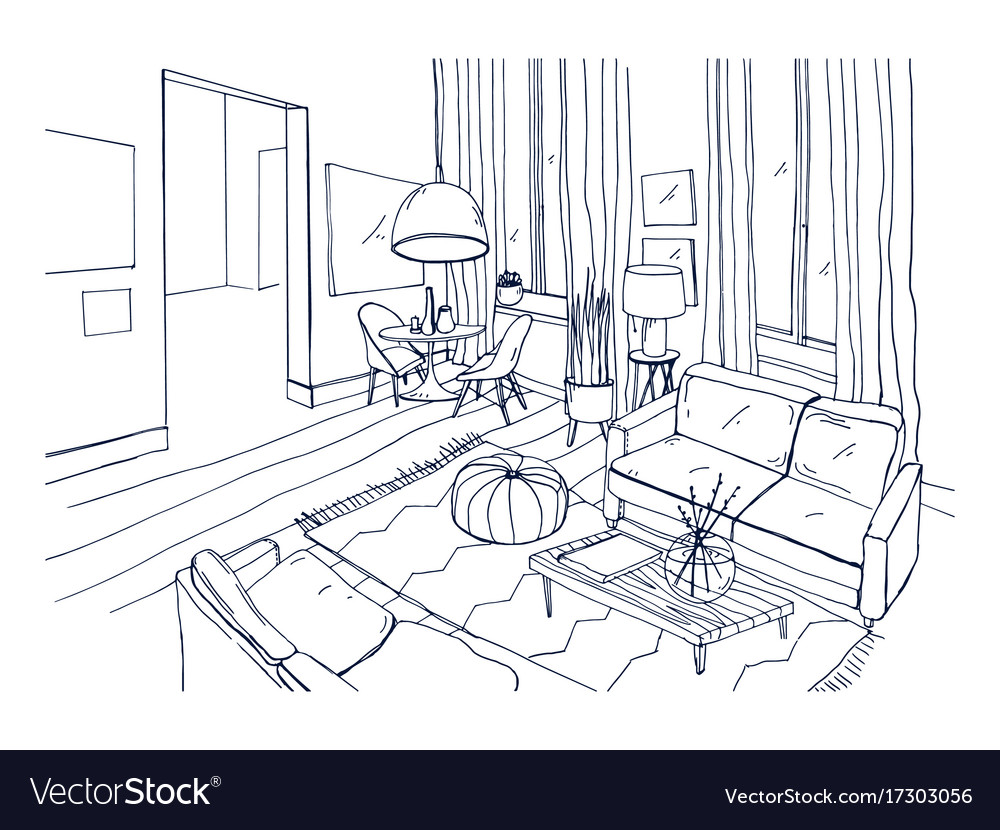 Freehand Drawing Of Living Room Full Of Stylish Vector Image