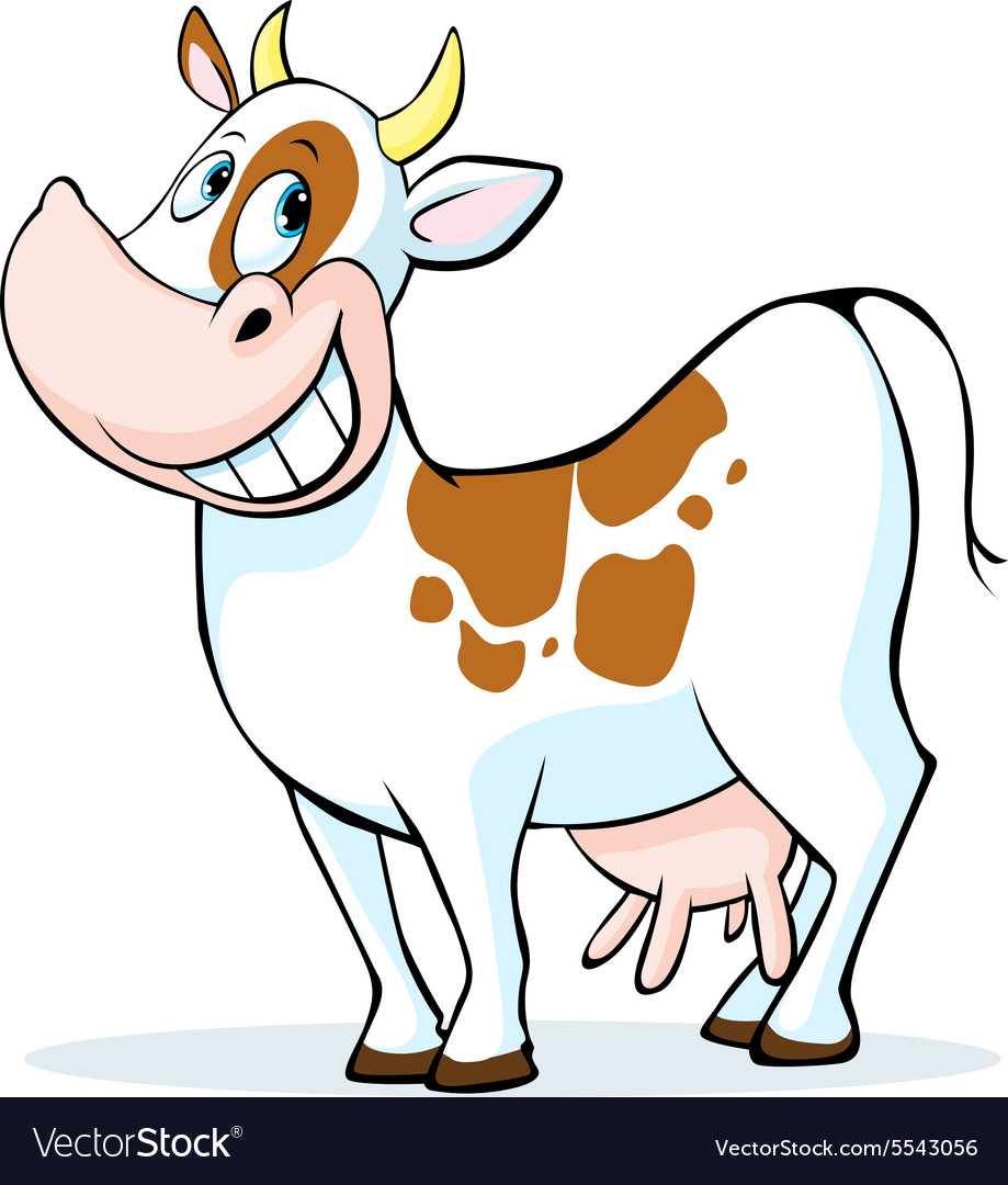 Funny cow cartoon standing isolated on white
