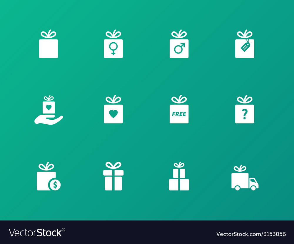 Gift icon set on green background